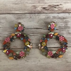 Jcrew jeweled hoop earrings